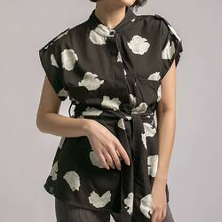 printed shirt anywhere, anytime, any events, any style _  ESTHE TOP in black idr 199,000 (navy, black)  bust : 96 cm arm hole : 40 cm length : 65 cm rayon material