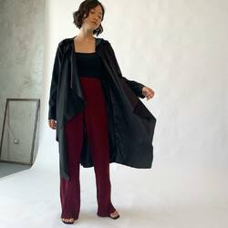 perfect work outfit  _  black CALLIE OUTER black CLAIRE TANK maroon PLEASANT PLEATS PANTS