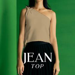 JEAN TOP - 279,000   this edgy yet elegant top you will ever have. with a twist on the shoulder and back wings you could adjust and style it yourself